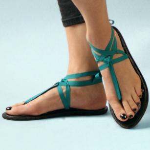 Mohop flat thong ribbon sandal.